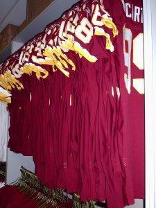 Burgundy jerseys by number.