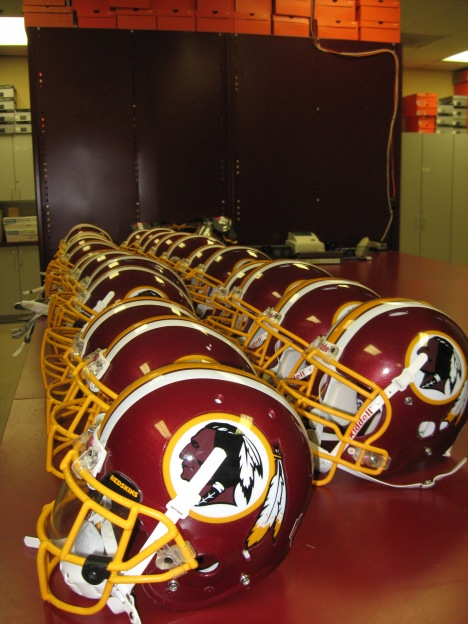 Repainted helmets ready for transport.