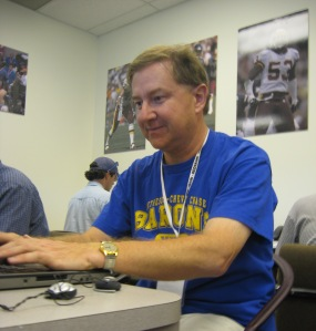 David Elfin at work in the press room.