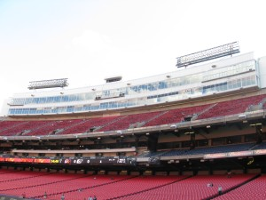 Pressbox as seen from the sideline.